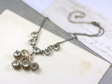 Load image into Gallery viewer, Art nouveau crystal bridal necklace vintage rhinestone brass 1920's