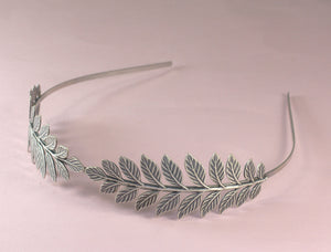 Leaf crown bridal headpiece fern antique silver goddess headband neoclassical nature leaves grecian roman romantic wedding hair