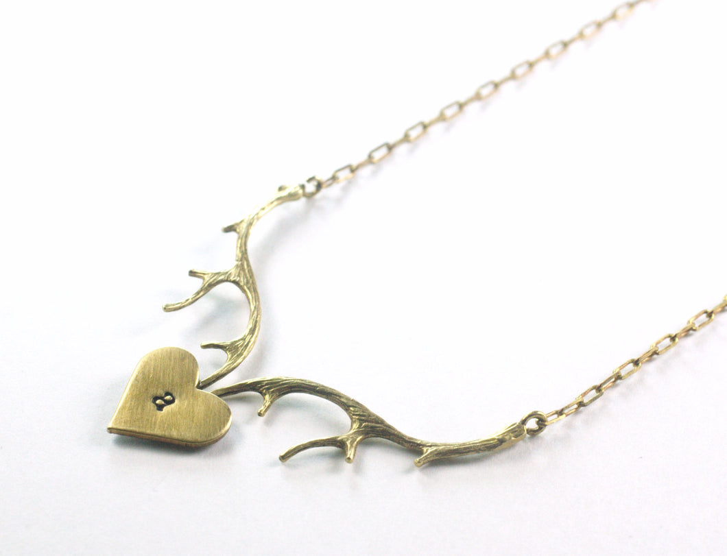 Antler necklace initial heart branch personalized love brass deer buck vintage style retro hand stamped Valentine's Day gift for her