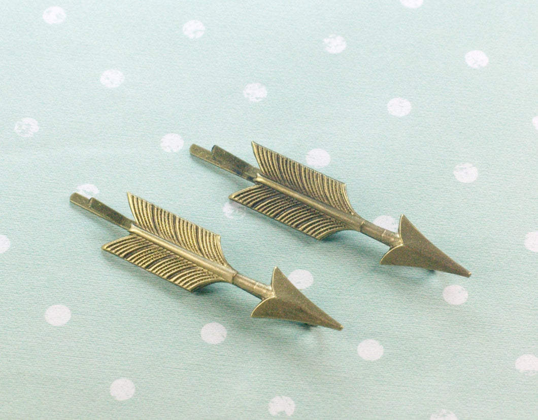 Arrow hair pins brass bobby pins retro bronze hair slides woodland vintage style