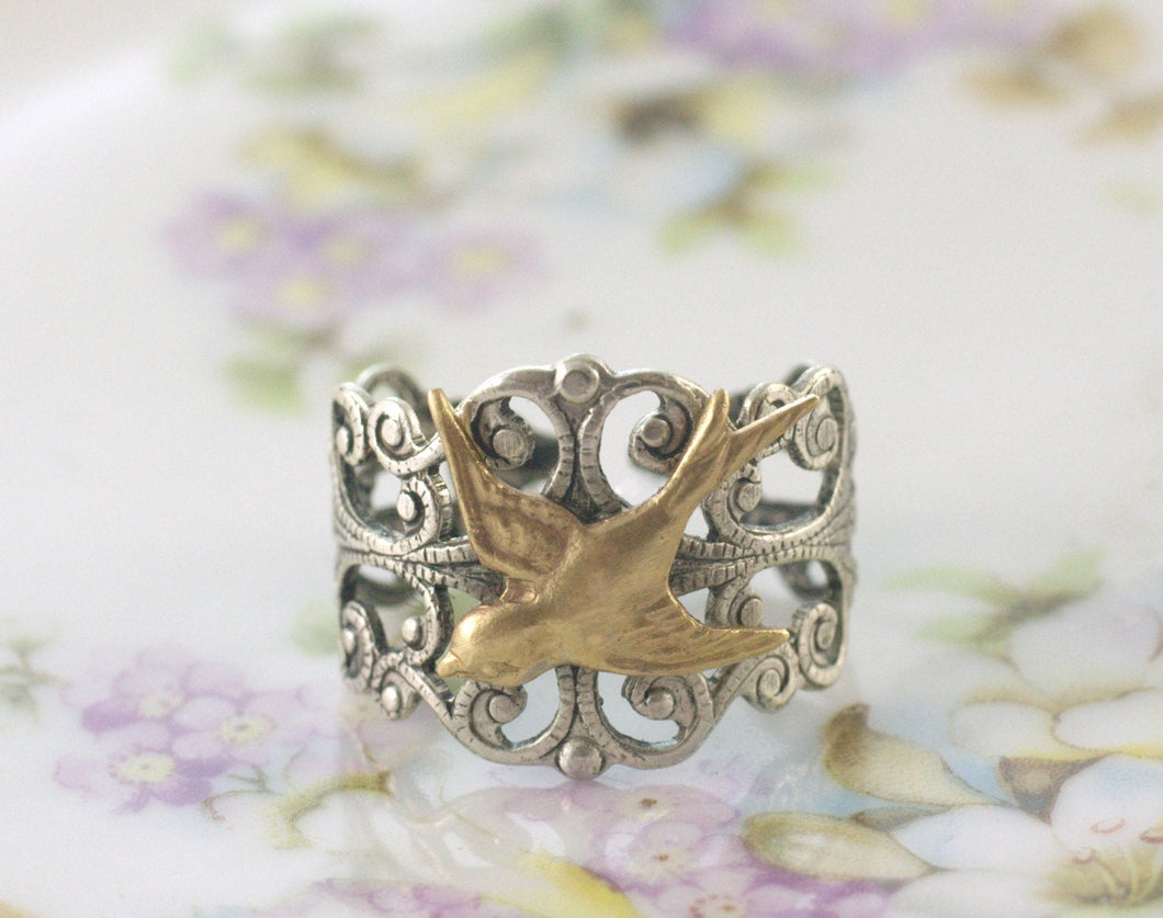 Filigree bird ring brass silver adjustable vintage style sparrow Victorian