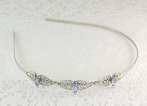 Bridal headband rhinestone sapphire blue lavender crystal silver filigree vintage style wedding hair accessory