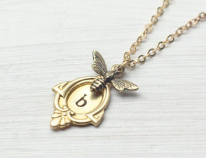 Initial necklace personalized brass bee vintage style retro hand stamped pendant wedding bridesmaid gifts monogram