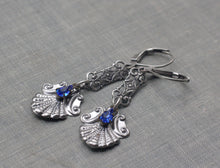 Load image into Gallery viewer, Edwardian earrings sapphire blue rhinestone crystal filigree flapper bridal wedding 1920's gatsby vintage style dangle