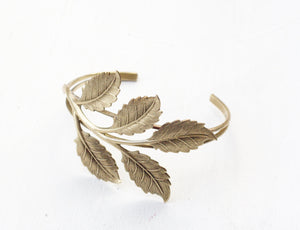 Leaf bracelet cuff brass woodland leaves branch nature wedding witch goddess gift for her