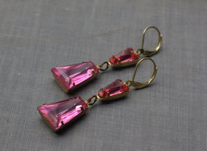 Art Deco earrings pink crystal jewel brass geometric earrings hollywood glamour vintage style rhinestone