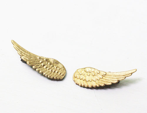 Wing barrettes hair clips angel golden brass retro fantasy pair hair accessory