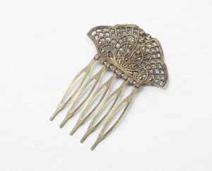 Bridal hair comb petite Edwardian antique brass bronze rhinestone filigree wedding hair accessory vintage style romantic lavender crystal