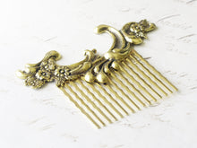 Load image into Gallery viewer, Gold bridal hair comb French antique style wedding hair bridesmaid golden vintage rococo