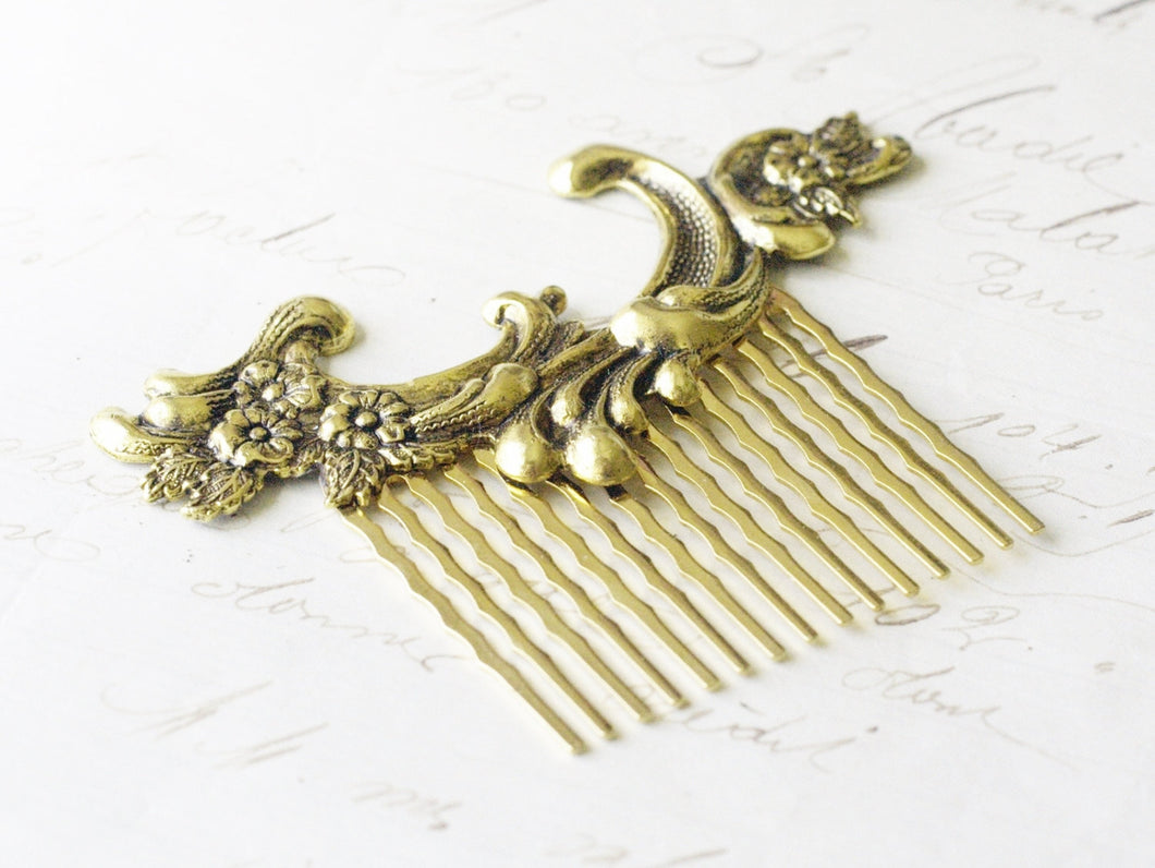 Gold bridal hair comb French antique style wedding hair bridesmaid golden vintage rococo