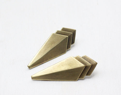 Art deco hair clips brass geometric 1930's style barrette pair antiqued bronze vintage retro