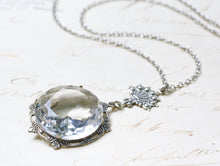 Load image into Gallery viewer, Bridal necklace crystal antique silver brass jewel wedding jewelry victorian vintage style elegant gem pendant