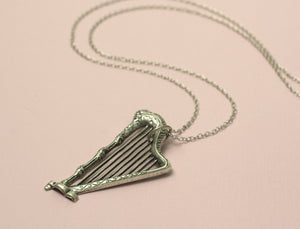 Harp necklace antique silver finish vintage style long retro renaissance music pendant musician