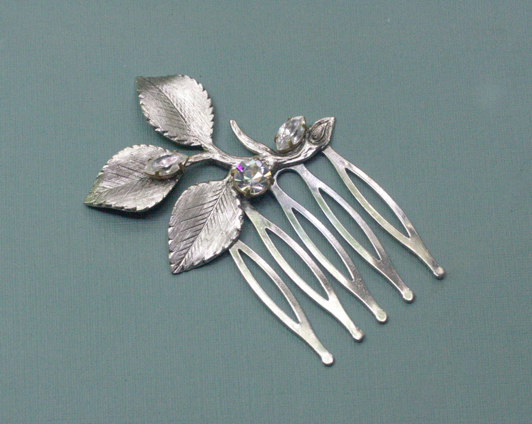 Bridal leaf hair comb crystal rhinestone antique style silver jewel wedding hair accessory vintage bride gem branch nature