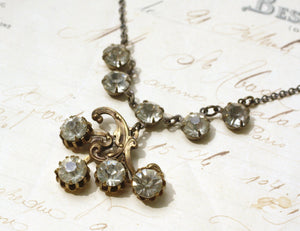 Art nouveau crystal bridal necklace vintage rhinestone brass 1920's