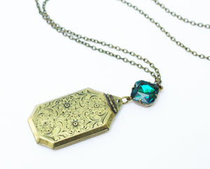 Art deco locket necklace emerald green crystal floral etched brass jewel antique style bronze vintage edwardian rhinestone gift for her