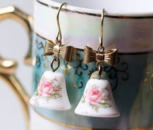 Load image into Gallery viewer, Pink rose earrings dangle vintage glass bell brass bow cottage chic romantic feminine retro floral