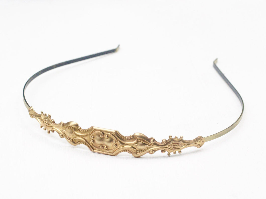 Victorian bridal headband golden brass vintage style romantic antique style wedding hair accessory head piece
