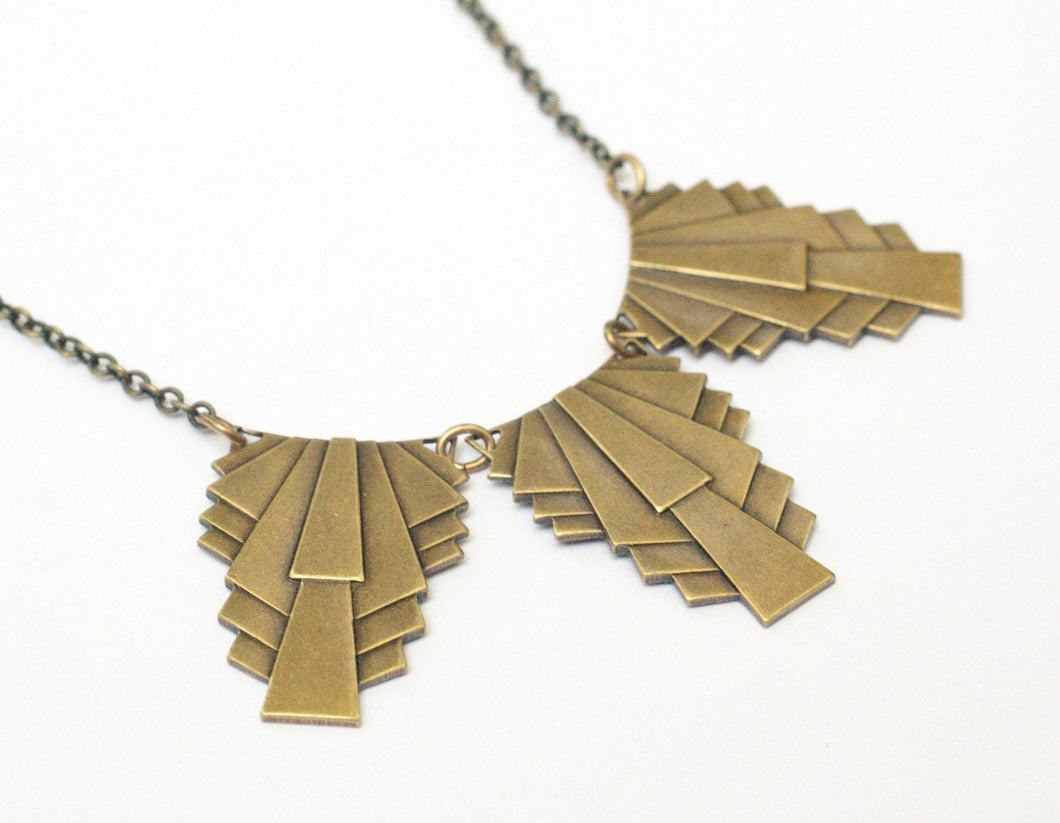 Art deco necklace vintage style brass silver gift for her handmade