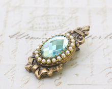 Load image into Gallery viewer, Antique crystal barrette pearl regency aqua jewel bow aquamarine rhinestone bridal hair clip