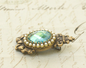Antique crystal barrette pearl regency aqua jewel bow aquamarine rhinestone bridal hair clip