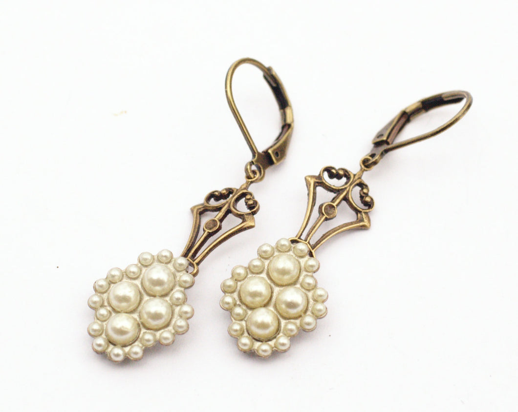 Pearl earrings dangle vintage style brass Edwardian bridal wedding jewelry antique style bronze Victorian romantic
