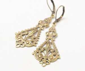 Filigree bridal earrings victorian brass or silver dangle bridesmaid earrings wedding jewelry vintage style romantic bronze