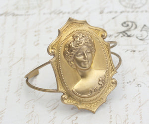 Cameo bracelet cuff brass Victorian lady retro large vintage antique style