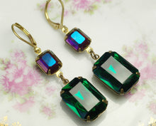 Load image into Gallery viewer, Gem earrings crystal art deco emerald green fuschia pink hollywood glamour drop