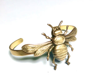Bee bracelet brass cuff vintage style honey bee whimsical woodland