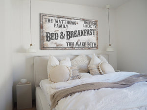 CUSTOM RUSTY WHITE BED AND BREAKFAST SIGN (WIDE)