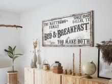 Load image into Gallery viewer, CUSTOM RUSTY WHITE BED AND BREAKFAST SIGN (WIDE)