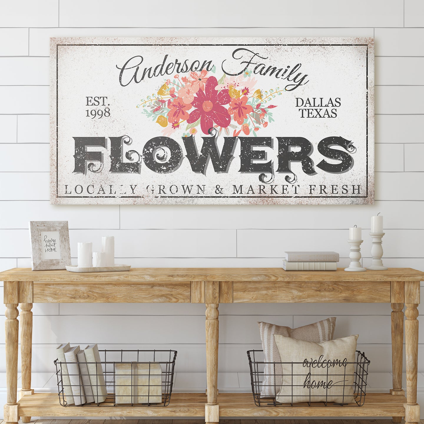 CUSTOM RUSTY WHITE LOCALLY GROWN FLOWERS SIGN (WIDE)