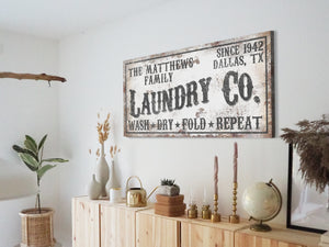 CUSTOM RUSTY WHITE LAUNDRY COMPANY SIGN (WIDE)
