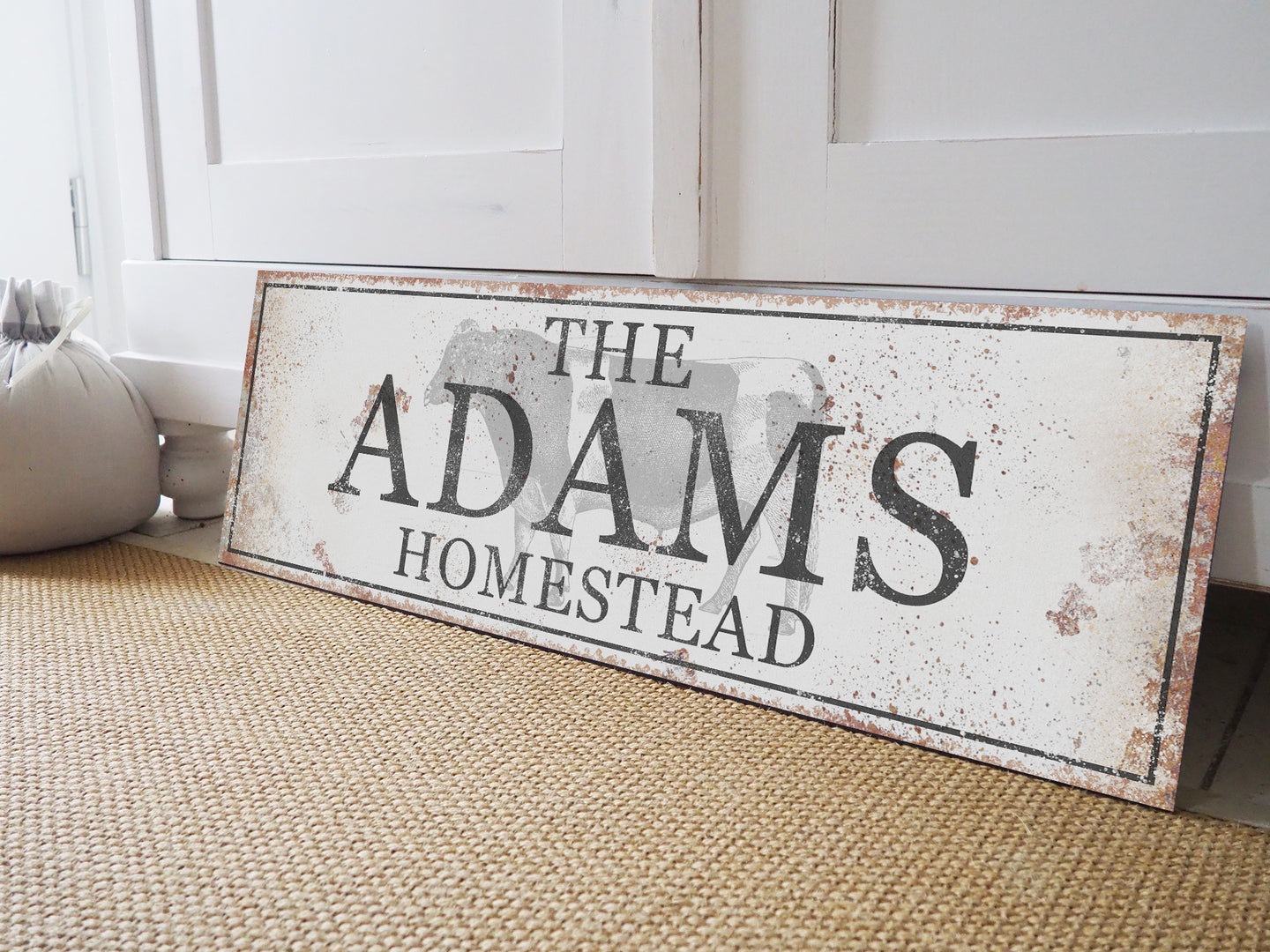 CUSTOM RUSTY WHITE CLASSIC SIGN (EXTRA WIDE)