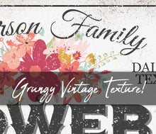 Load image into Gallery viewer, CUSTOM RUSTY WHITE LOCALLY GROWN FLOWERS SIGN (WIDE)