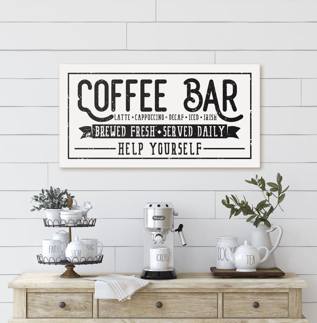 COFFEE BAR • FRESHLY BREWED • SERVED DAILY SIGN (DISTRESSED WHITE) (WIDE) Denver to Dallas CANVAS WRAP 10X20
