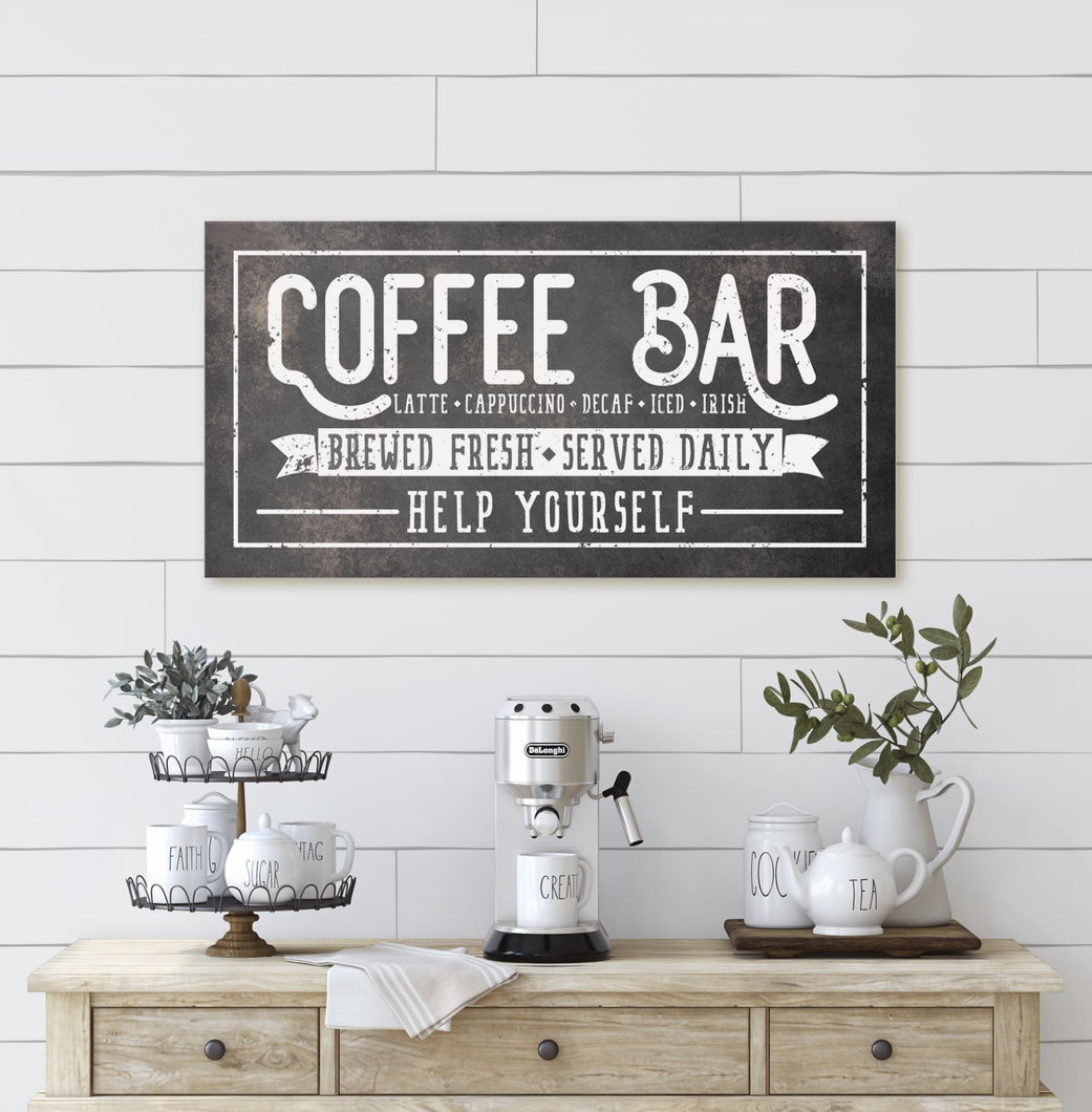 COFFEE BAR • FRESHLY BREWED • SERVED DAILY SIGN (RUST BLACK) (WIDE) Denver to Dallas CANVAS WRAP 10X20