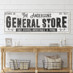 CUSTOM GRUNGE WHITE FAMILY GENERAL STORE SIGN (EXTRA WIDE)