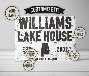 CUSTOM DISTRESSED FAMILY DETAILS GRUNGE WHITE SIGN CUSTOM GIFT PRINTS DenverToDallas