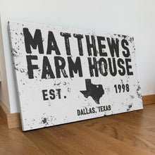 Load image into Gallery viewer, CUSTOM DISTRESSED NAME AND PLACE SIGN CUSTOM GIFT PRINTS DenverToDallas
