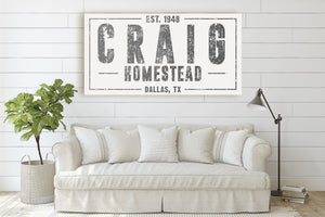 CUSTOM DISTRESSED WHITE FAMILY NAME SIGN (WIDE) Denver to Dallas