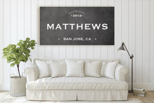 Load image into Gallery viewer, CUSTOM GRUNGE BLACK FAMILY NAME SIGN (WIDE) Denver to Dallas