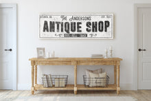 Load image into Gallery viewer, CUSTOM GRUNGE WHITE FAMILY ANTIQUE SHOP SIGN (EXTRA WIDE) Denver to Dallas