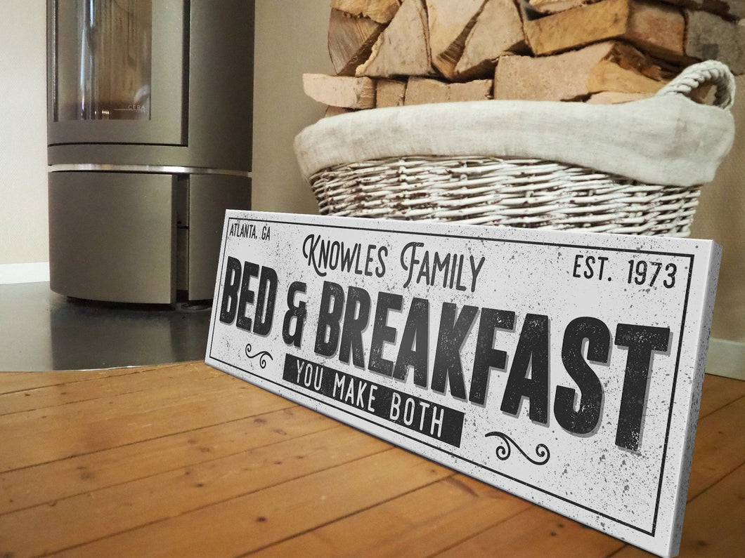 CUSTOM GRUNGE WHITE FAMILY BED & BREAKFAST SIGN (EXTRA WIDE) Denver to Dallas