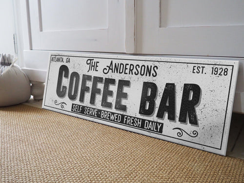 CUSTOM GRUNGE WHITE FAMILY COFFEE BAR SIGN (EXTRA WIDE) Denver to Dallas