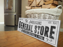 Load image into Gallery viewer, CUSTOM GRUNGE WHITE FAMILY GENERAL STORE SIGN (EXTRA WIDE) Denver to Dallas