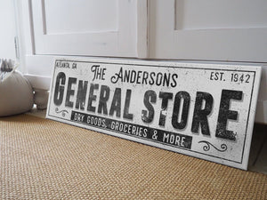 CUSTOM GRUNGE WHITE FAMILY GENERAL STORE SIGN (EXTRA WIDE) Denver to Dallas