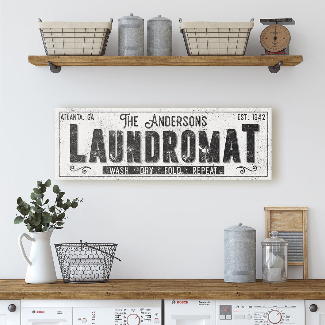 CUSTOM GRUNGE WHITE FAMILY LAUNDROMAT SIGN (EXTRA WIDE) Denver to Dallas