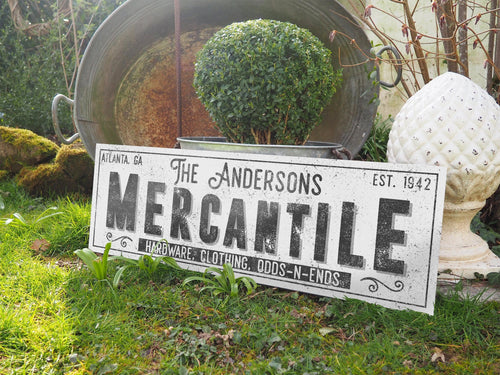 CUSTOM GRUNGE WHITE FAMILY MERCANTILE SIGN (EXTRA WIDE) Denver to Dallas